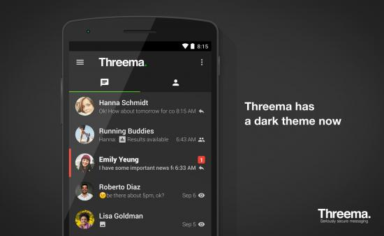 Threema now with a dark theme (Android)