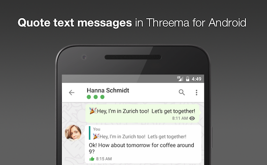 New quote feature in Threema for Android