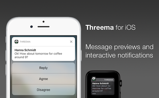 Threema for iOS: Message previews and interactive notifications