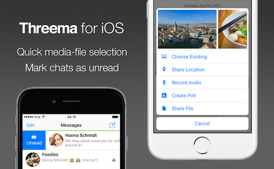 Threema for iOS: Quick media-file selection, mark chats as unread, and clone groups